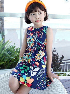 Ericdress Backless Print Sleeveless Girls Dresses
