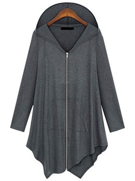 Ericdress Plus Size Asymmetric Pleated Hooded T-Shirt