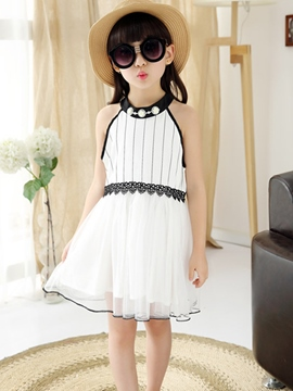 Ericdress Sleeveless Stripe Mesh Girls Dress