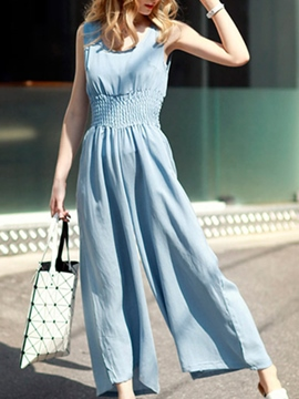 Ericdress Round Neck Pleated Jumpsuits Pants