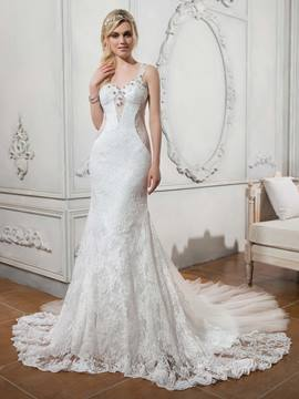Ericdress Charming Straps Mermaid Lace Wedding Dress