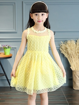 Ericdress Solid Color Sleeveless Girls Lace Dress