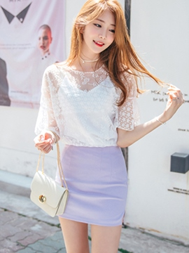 Ericdress Solid Color Mesh Patchwork Batwing Blouse