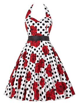 Ericdress Halter Polka Dots Print Casual Dress