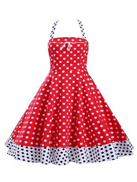 Ericdress Polka Dots Patchwork Halter Casual Dress