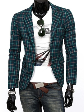 Ericdress Plaid Casual Slim Men's Blazer