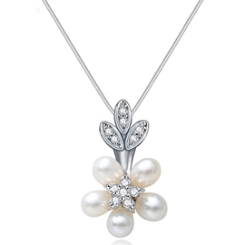 Ericdress Pearls Flower Pendant Necklace