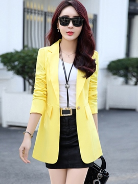 Ericdress Slim Solid Color Blazer