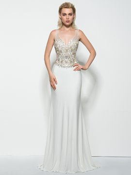 Ericdress Sheath V-Neck Beading Sweep Train Prom Dress