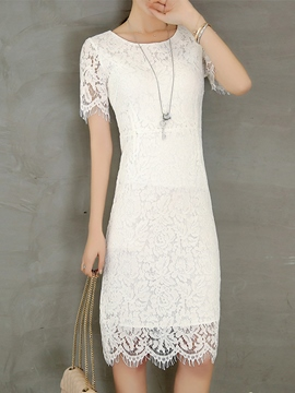 Ericdress Soild Color Short Sleeve Summer Lace Dress