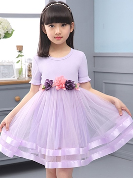 Ericdress Patchwork Short Sleeve Pleated Girls Dress