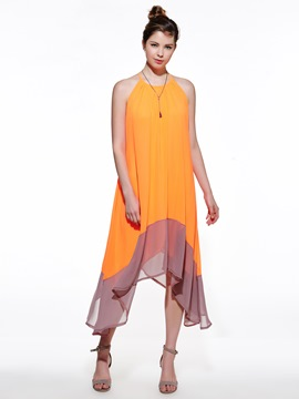 Ericdress Color Block Halter Patchwork Expansion Maxi Dress