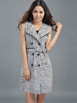 Ericdress Slim Double-Breasted Sleeveless Trench Coat