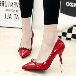 Ericdress Rhinestone Point Toe Patent Leather Pumps
