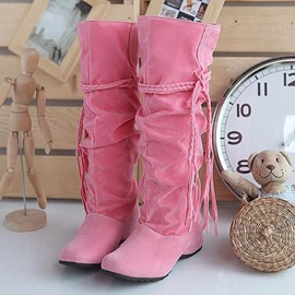 Pretty Woven String Pure Color Knee High Boots