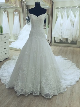 Ericdress Beautiful Appliques Off The Shoulder A Line Wedding Dress