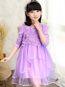 Ericdress Appliques Asymmetrical Lace Tutu Long Sleeve Girls Dresses