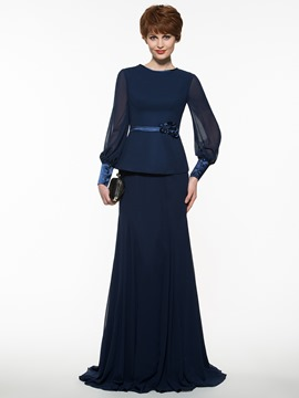 Ericdress Modest Jewel Sheath Long Mother Of The Bride Dress