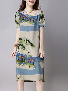 Ericdress Beach Print Loose Casual Dress