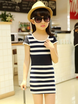 Ericdress Casual Stripe Short Sleeve Girls Dress