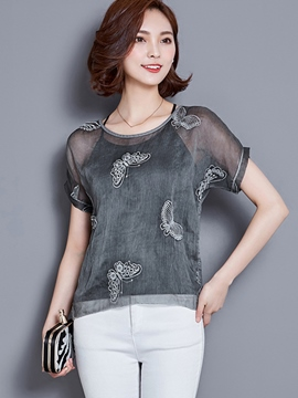 Ericdress Mesh See-Through Blouse
