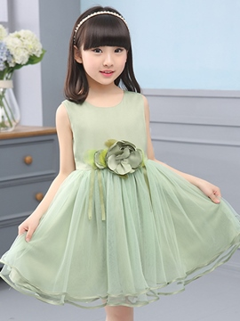 Ericdress Appliques Tulle Pleated Sleeveless Girls Dresses