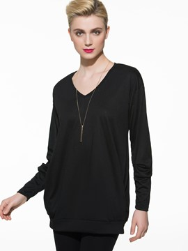 Ericdress Black V-Neck Casual T-Shirt