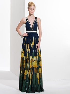 Ericdress A-Line V-Neck Printed Long Prom Dress