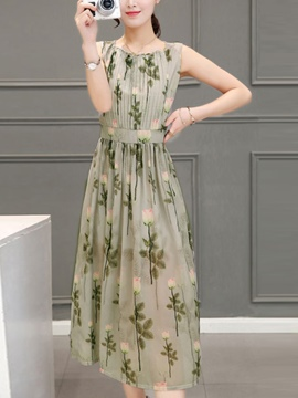 Ericdress Floral Pleated Sleeveless Maxi Dress