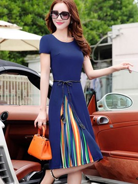 Ericdress Ladylike Pleated Slim Casual Dress