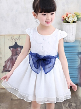 Ericdress Bowknot Girls Dress