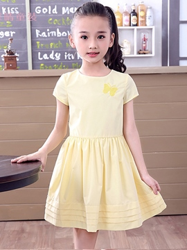 Ericdress Emboridery Zipper Pleated Girls Dresses