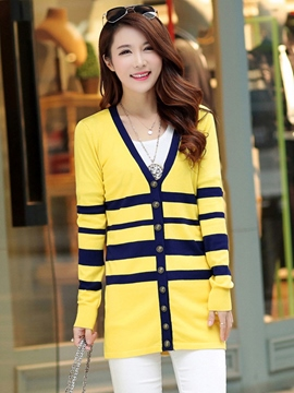Ericdress Stripped Color Block Knitwear