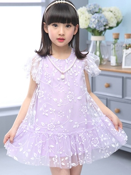 Ericdress Floral Short Sleeve Girls Dress