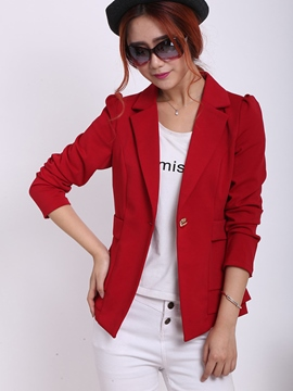 Ericdress Solid Color One-Button Pleated Slim Blazer