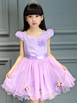 Ericdress Appliques Mesh Falbala Princess Short Sleeve Girls Dresses