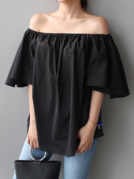 Ericdress Slash Neck Pleated Loose Blouse