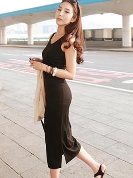 Ericdress Plain Round Neck Korean Style Sheath Dress