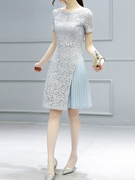 Ericdress Lace Patchwork Pleated Casual Dress