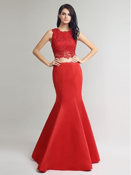 Ericdress Two Pieces Mermaid Scoop Crystal Lace Evening Dress