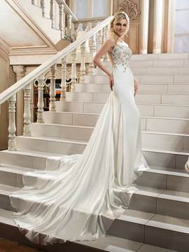 Ericdress Beautiful Illusion Neckline Beaded Sheath Backless Wedding Dress