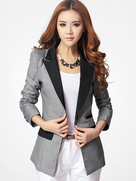 Ericdress Slim Polo Color Block Blazer