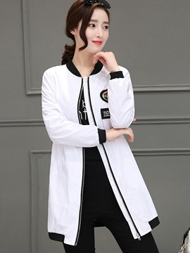 Ericdress Zipper Mid-Length Jacket