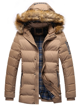 Ericdress Mid-Length Detachable Fur Collar Men's Winter Coat