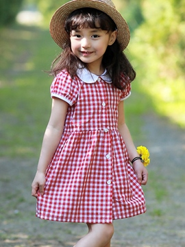 Ericdress Plaid Girls Dress