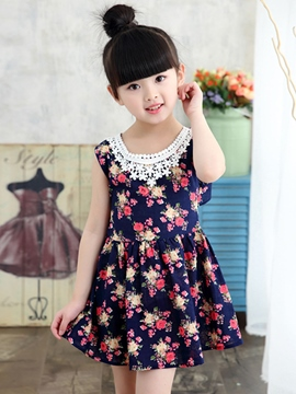 Ericdress Floral Print Halter Tops Patchwork Girls Dresses