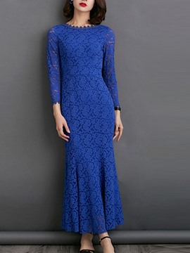 Ericdress Soild Color Long Sleeve Mermaid Lace Maxi Dress