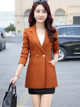 Ericdress Slim Solid Color Two-Button Blazer
