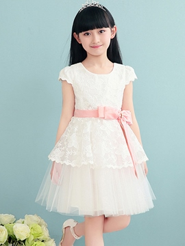 Ericdress Short Sleeve Pleated Patchwork Girls Dress
