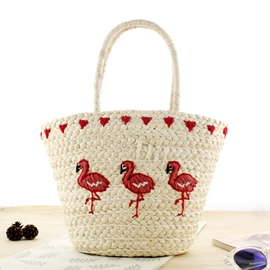 Ericdress Flamingo Embroidery Knitted Handbag